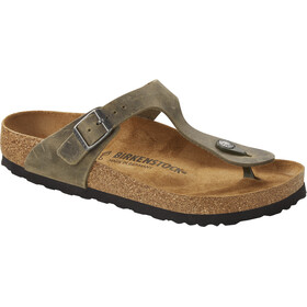 Birkenstock Gizeh Thong Sandals Oiled Leather Narrow, faded khaki